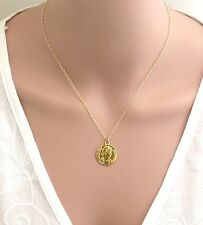 24k deep gold plated Coin pendant, roman gold coin necklace,
