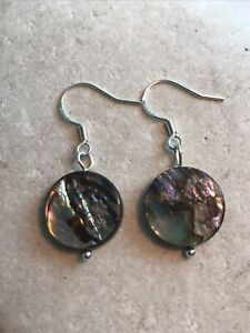 Genuine Abalone Shell Round Earrings 925 Sterling Silver - Gift Bag - Free P&P