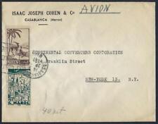 MOROCCO JUDAICA 1947 CASABLANCA TO NEW YORK AIR MAIL COVER