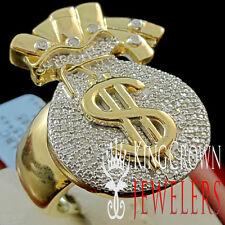 Mens Genuine Diamond Money Bag $ Sign Pinky Ring Band 10K Yellow Gold Finish New