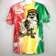 Chemistry Men's Large Rasta Cat T Shirt, Tie Dye Print, 42 - 44