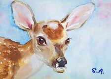 fawn deer doe ACEO original painting wildlife art animal ATC baby