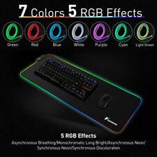 Large RGB Colorful LED Lighting Gaming Mouse Pad Mat 800*300mm for PC Laptop US