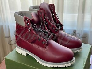"""Timberland Premium Waterproof Leather 6"""" Burgundy Red Boots 36108 15 35 Sz 10.5"""