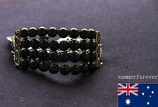 Ladies' Black Fashion Elegant Jewellery Big White Pearl Ball Beaded Bracelet