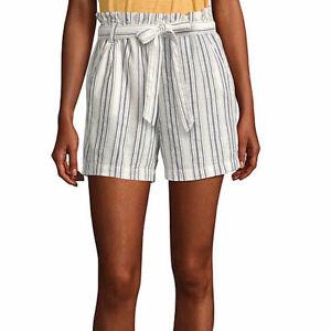 a.n.a. Women's Paperbag Waist Shorts Size Petite XL Navy Khaki Stripe Belted New
