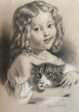Portrait jeune fille chat Dessin ancien femme XIXème signé tableau ancien 19ème