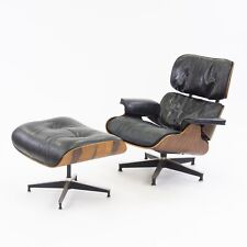 1960's Herman Miller Eames Lounge Chair and Ottoman Rosewood 670/1 Black Leather