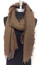 Men's Fashion Scarf Brown Lightweight Linen Tassel Shawl Wrap Soft All Seasons