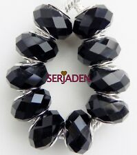 10 Solid Black Faceted Beads Fit European Style Jewelry 9 * 14 w/ 5 mm Hole B031