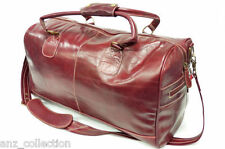 Large Red Real Leather Holdall Duffel Travel Sports Gym Designer Weekend Bag