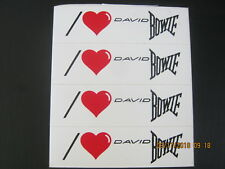 "David Bowie Set of 4 ""I Love, (Heart) David Bowie"" 1"" x 3"" Stickers 1983 Mint!"