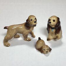 Nice! Hagen-Renaker Cocker Spaniel Mama, Papa, & Puppy Figurines 1990's Vintage