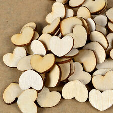 100pcs Mini Wood Wooden Love Heart Pieces Painting Craft Scrapbooking Cardmaking