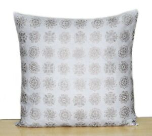 New Indian Silver & Gold Printed Collection Of All Size Hand Block Cushion Cover