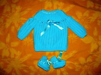 cadeau MAMAN BEBE naissance brassiere luxe tricotée main turquoise + chaussons