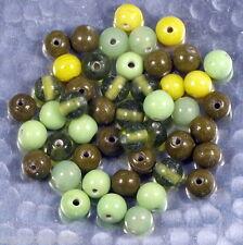 Mélange de perles de verre artisanales variées couleurs fleuries 50g