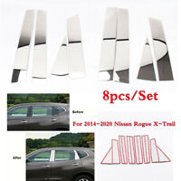 8x Stainless Steel Car Door Pillar Post Cover Trims For Nissan Rogue X Trail 14+