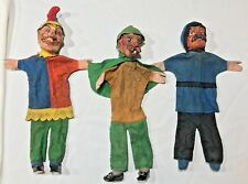 Lot of 3 Antique German Character  Wood  Carved Puppets Punch & Judy