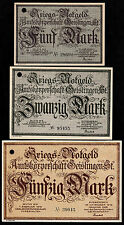 Geislingen -Amtskörperschaft- 3 Scheine zu 5 M., 20 M. und 50 Mark, Nov. 1918