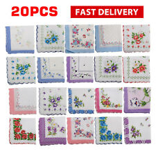 20x Vintage Floral Flowers Bird Handkerchief Cotton Square Hanky Ladies