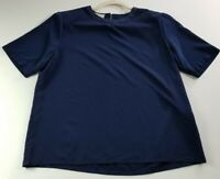 VTG Worthington Women's Short Sleeve Blouse Top Medium M Blue Crewneck Polyester