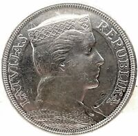 Latvia 1931 5 Lati 25 Gram Silver Coin Choice AU/ UNC. KM#9 Crown Size