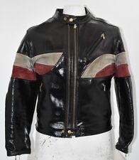 Men's Vintage Diesel Large Black Leather Jacket Biker Motorcycle cafe racer