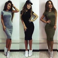 Women Stretchy Bodycon Pencil Dress Short Sleeve Party Evening Slim Long Tops T