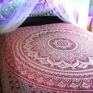 Indian Queen Size Ombre Mandala Tapestry Living Room Decoration Handmade Boho