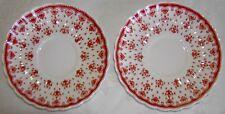 Lot 2 Spode Bone China Saucers - Fleur de Lis - Rust Red