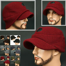 Cadet Box HOC WINE RED Visor Beanie Chullo Skull Knit Cap Hat Ear wamer EarFlap