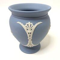 Wedgwood Vase Aurora Blue White Relief Neoclassical Jasperware England 85