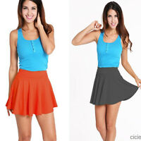 Fashion Lady Girls Stretch High Waist Plain Skater Flared Pleated Skirt Gift