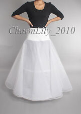 WHITE Lycra 2-hoop A-line wedding petticoat bridal prom dress underslirt slip