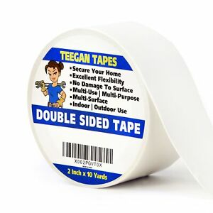 Double Sided Tape, 2 Inches x 10 Yards, Heavy Duty Carpet Tape. Excellent for Se
