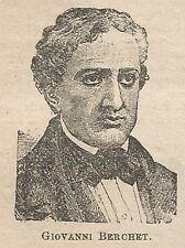 A1050 Giovanni Berchet - Stampa Antica del 1911 - Xilografia