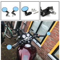 """UNIVERSAL 7/8"""" Foldable Motorcycle CNC Bar End 3"""" Round Mirror Rear View Side B4"""