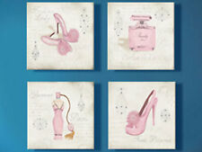 PRETTY IN PINK GIRLS SET OF 4 PRINTS ON CANVAS 50 x 50 FRAMED WALL ART
