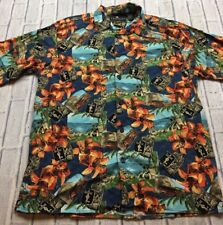 90s VTG CONSENSUS SPORTSWEAR RAYON Hawaiian VAPORWAVE Beach Print Shirt L Scenic