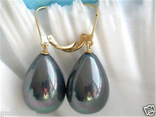 12x16mm Rainbow Black South Sea Shell Pearl Drop 14K GP Leverback Earrings