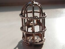 502E 2 love birds in a bird cage silver charm for traditional charm bracelet