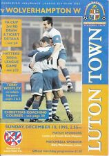 Luton Town v Wolves Wolverhampton Wanderers Div One 1995 / 1996 - December 10th