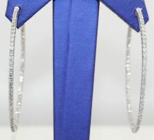 3.00Ct Inside-Out Diamond Hoop Earrings Solid 14k White Gold Excellent Round Cut