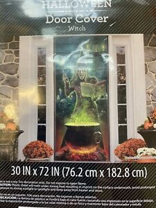 """Halloween door cover witch with cauldron  30"""" x 72"""" party supplies decor"""