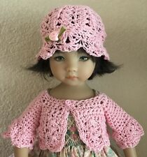 """Hand Crocheted """"Pink""""Sweater & Hat ~ For Effner Little Darling Or Similar"""