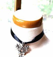 Black Satin Ribbon Choker Silver tone Heart Charm Black Lucite Setting Vintage N