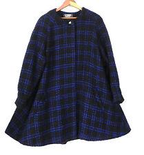 Vtg ER Gerard Coat Swing/A-Line/Open 100% Wool Woven Black/Blue Size XL