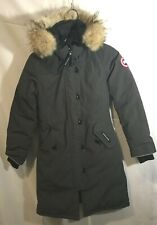 NEW! CANADA GOOSE GIRLS FUR TRIMMED GRAY BRITTANIA PARKA COAT 10 to 12 yrs Med