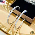 Gorgeous Hoop Earrings Women 925 Silver Jewelry White Sapphire Free Shipping